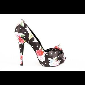 Top Heels Co Kyra Floral Black Peep Toes